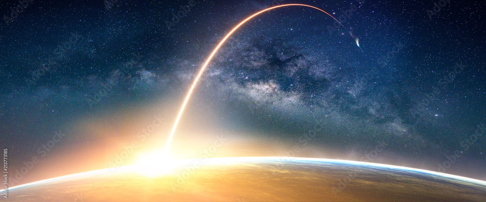 Fototapety, obrazy: Landscape with Milky way galaxy. Sunrise and Earth view from space with Milky way galaxy. (Elements of this image furnished by NASA)