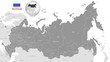 Grey Vector Political Map of Russia