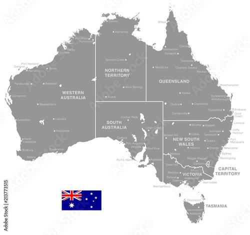 Map Of Australia To Buy.Grey Vector Political Map Of Australia Buy This Stock Vector And