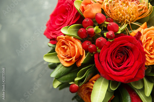 Canvas Print Winter or autumn bouquet with roses