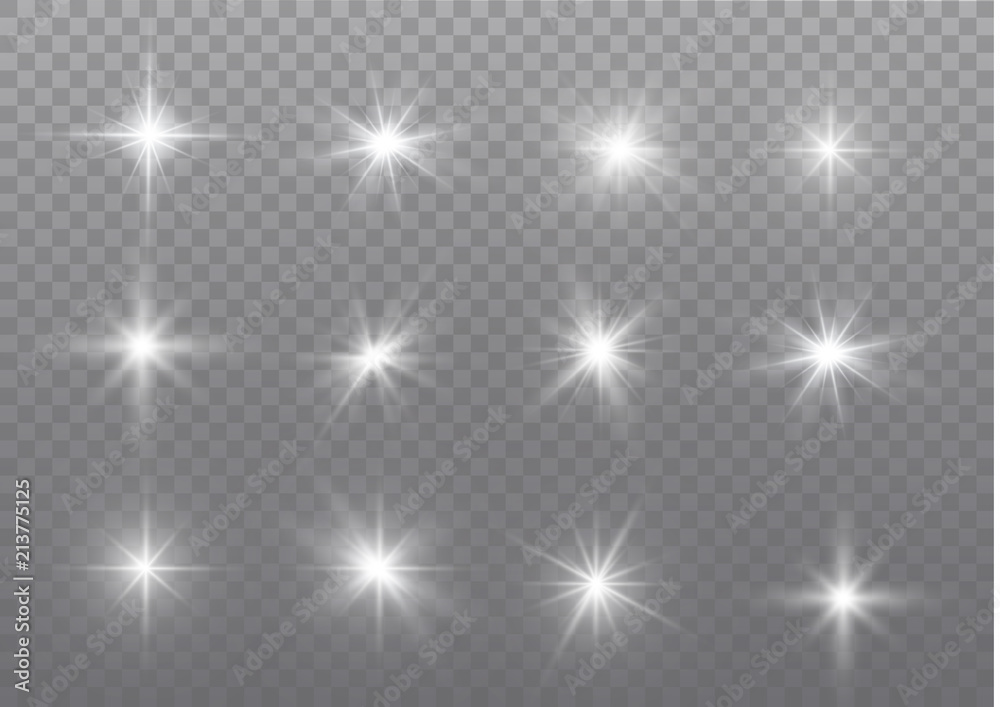 Fototapeta White sparks glitter special light effect. Vector sparkles on transparent background. Christmas abstract pattern. Sparkling magic dust particles.