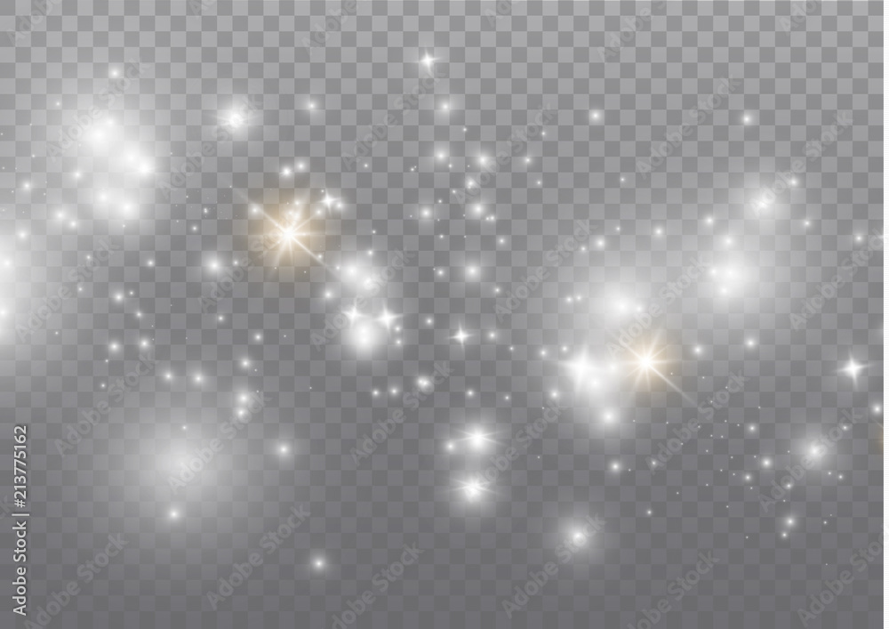 Fototapety, obrazy: White sparks and golden stars glitter special light effect. Vector sparkles on transparent background. Christmas abstract pattern. Sparkling magic dust particles.