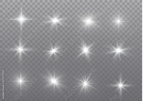 Obraz White sparks glitter special light effect. Vector sparkles on transparent background. Christmas abstract pattern. Sparkling magic dust particles. - fototapety do salonu