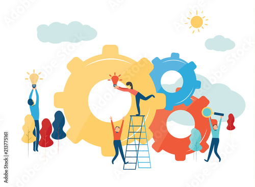 Fototapeta  Vector creative illustration of business graphics, the company is engaged in the joint construction of column graphs, raising the career path to success,the concept of success and moving towards idea