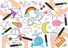 Children Draw On Paper-  Vector Illustration, Eps