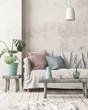 Leinwandbild Motiv Mock up interior in Scandinavian style with a sofa. 3D rendering