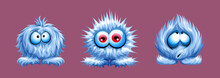 Vector Set Of Cute Fuzzy Animal Shaggy Blue