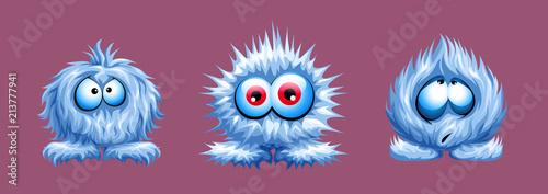 Fotografie, Obraz  vector set of cute fuzzy animal shaggy blue