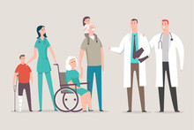 Doctor And Nurse With Patients...