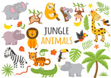 Fototapeta Fototapety na ścianę do pokoju dziecięcego - set of isolated jungle animals and tropical plants  -  vector illustration, eps