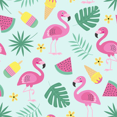 seamless pattern with flamingo, ice cream, fruit, tropical leaf  -  vector illustration, eps