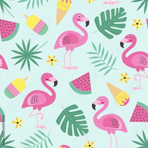 Fototapeta premium wzór z flamingo, lody, owoce, tropikalny liść - ilustracja wektorowa eps