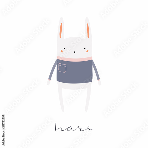 Printed kitchen splashbacks Illustrations Hand drawn vector illustration of a cute funny hare in sweater, with calligraphic hand written quote. Isolated objects. Scandinavian style flat design. Concept for children print.