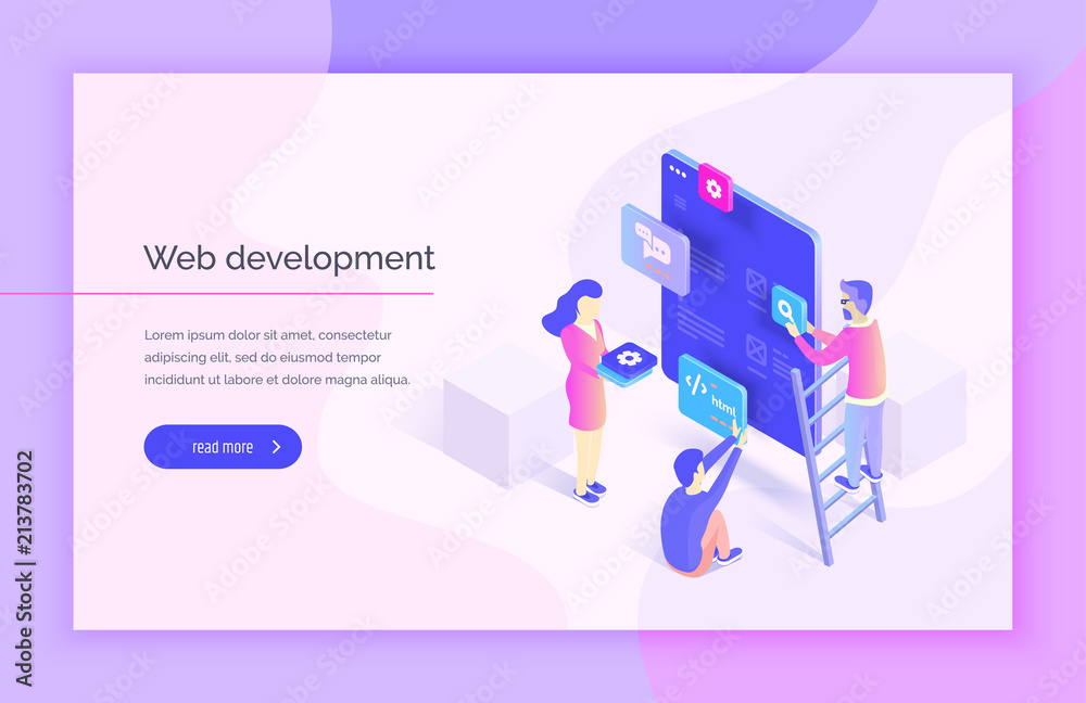 Fototapety, obrazy: Web design, development. People interact with parts of the interface, creating an interface for the mobile application. Modern vector illustration isometric style.