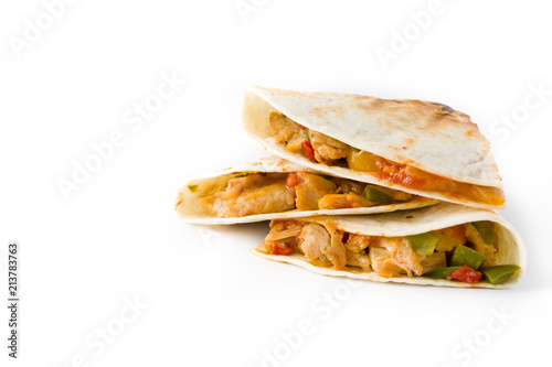 Mexican quesadilla with chicken, cheese and peppers, isolated on white background. Copyspace