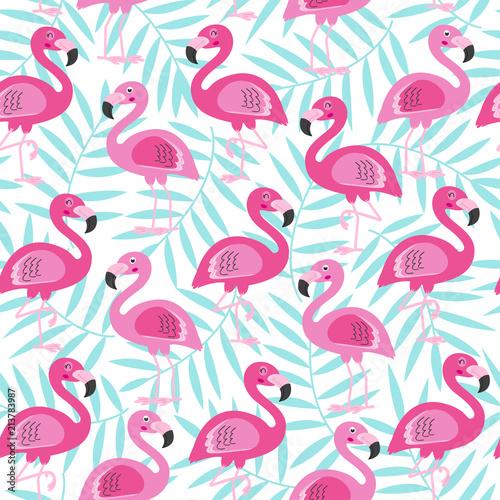 Fototapeten Künstlich seamless pattern with pink flamingo and blue tropical leaf - vector illustration, eps