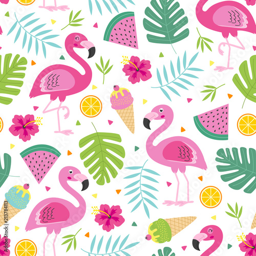 Tapety kolorowe  cheerful-tropical-seamless-pattern-with-pink-flamingo-vector-illustration-eps