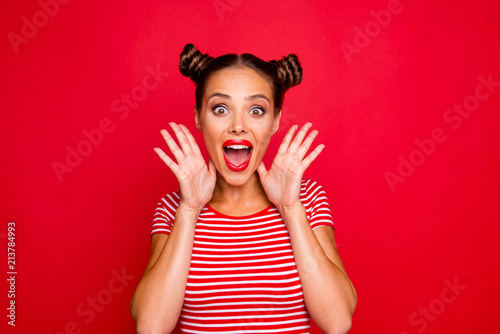 WOW! Portrait of astonished surprised girl with wide open mouth eyes gesturing w Tapéta, Fotótapéta