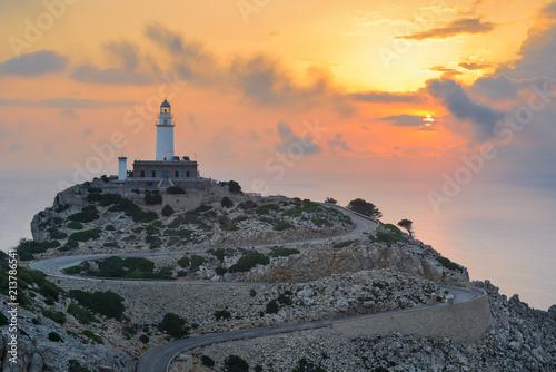 Montage in der Fensternische Leuchtturm Formentor Lighthouse at sunrise, Majorca, Spain