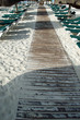 Wooden walkway at sandy beach