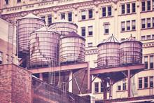Water Tanks On A Roof, Color T...