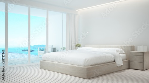 Bedroom and living area on pool deck and swimming pool with panorama sea view - Bedroom and swimming pool sea view and island view in hotel or resort - 3D Illustration