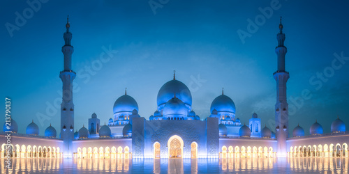 Poster Abou Dabi Sheikh Zayed Grand Mosque at evening Abu Dhabi