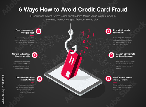 Fotografía Simple Vector infographic for 6 ways how to avoid credit card fraud template isolated on dark background
