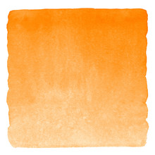 Orange Watercolor Square Gradient Fill With Uneven Edges. Watercolour Stains Autumn, Halloween Background. Abstract Painted Template For Text Design. Brush Drawn Aquarelle Texture Isolated On White.