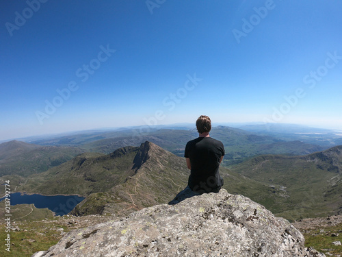 Stampa su Tela Views from the peak of Mount Snowdon, Wales, UK