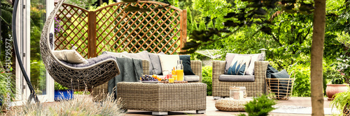 Obraz Cozy hanging egg chair, stylish garden furniture and fruit on a wicker table on a spacious terrace among green plants and trees - fototapety do salonu