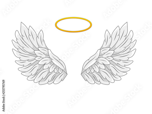 Valokuva A pair of wide spread angel wings with golden halo or nimbus