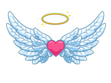 A Pair Of Wide Spread Angel Wings With Golden Halo Or Nimbus And Red Heart In The Middle. Blue And White Feathers. Love And Valentine Day Symbol. Vector Illustration