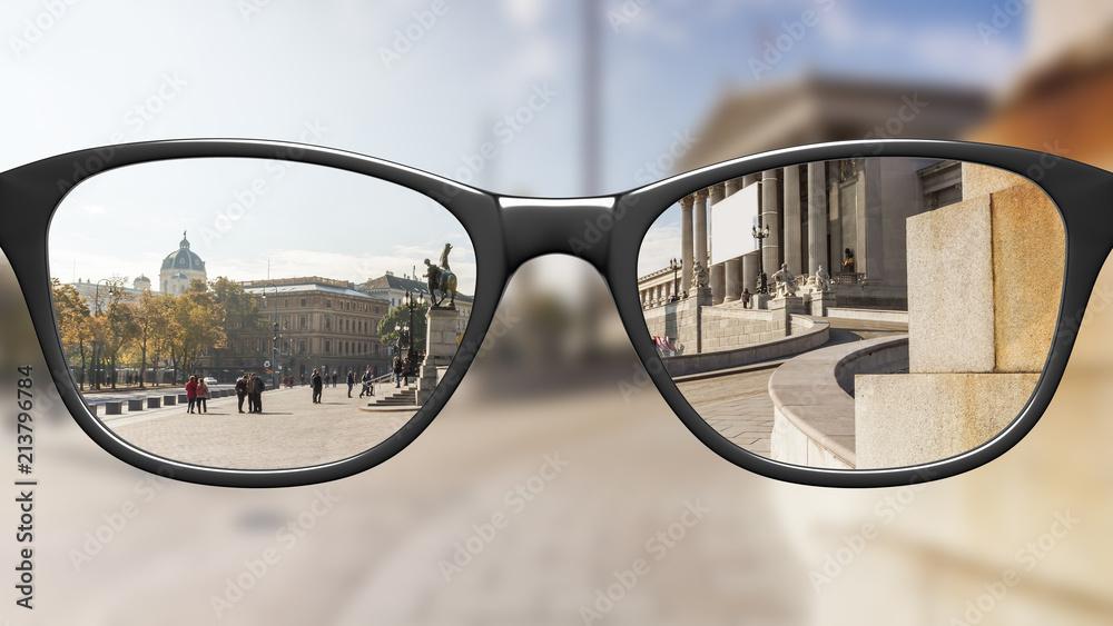 Fototapety, obrazy: View through glasses sharp with glasses unsharp without glasses
