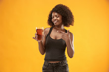 Sexy Young Afro Woman Drinking Beer, Not Isolated On White Background