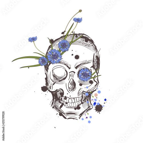 Printed kitchen splashbacks Skull with flowers. Vector hand drawn skull with wild flowers. Skull with flowers isolated on white background