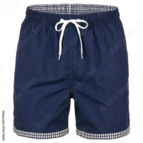 Fotografía  Navy blue men shorts for swimming isolated on white background