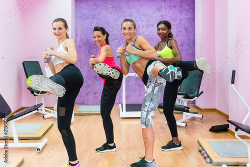 Cuadros en Lienzo Cheerful fit women holding dumbbells, while doing a lateral leg raise during a g