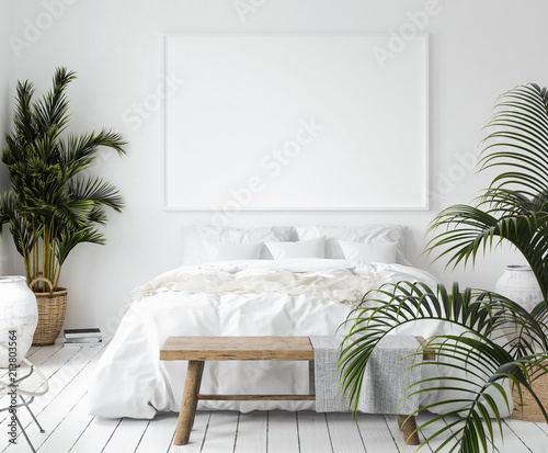 Fotografia  Mock-up poster frame in bedroom, Scandinavian style, 3d render
