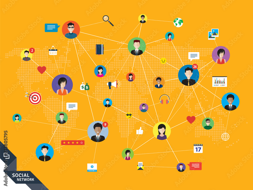 Fototapeta People connected by social media or social networks. Concept of communication, business, globalization. People icons, world map and design with lines in orange technology background.