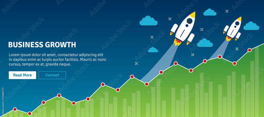 Fototapeta Rocket flying on chart of growth. Concept of successful, business growth, business planning and success, increase in sales, analysis and investment. Flat design web banners in vector illustration.
