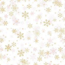Vector Seamless Pattern Of Gold And Pink Snowflakes.
