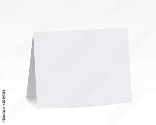 Photo Realistic standing white blank folded paper card