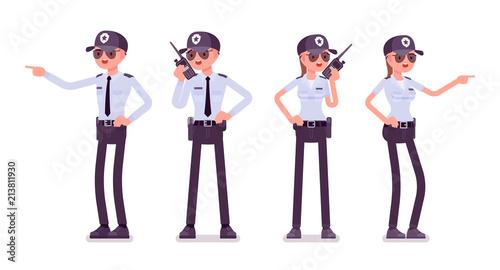 Fotografie, Obraz Male and female security guard