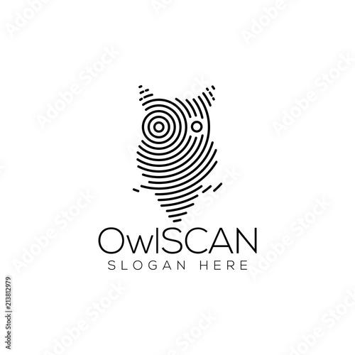Canvas Prints Owls cartoon Owl Scan Technology Logo vector Element. Animal Technology Logo Template