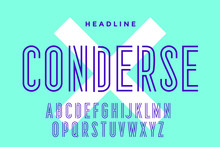 Line Condensed Alphabet And Fo...