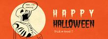 Happy Halloween Skeleton Character Banner.