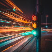 Illuminated Stoplight Against ...