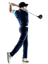 One Caucasian Man Golfer Golfi...