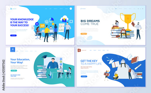 Obraz na plátně Set of web page design templates for staff education, consulting, college, education app